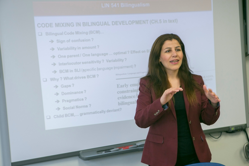 Stony Brook, NY; Stony Brook University: Graduate student presents to a class